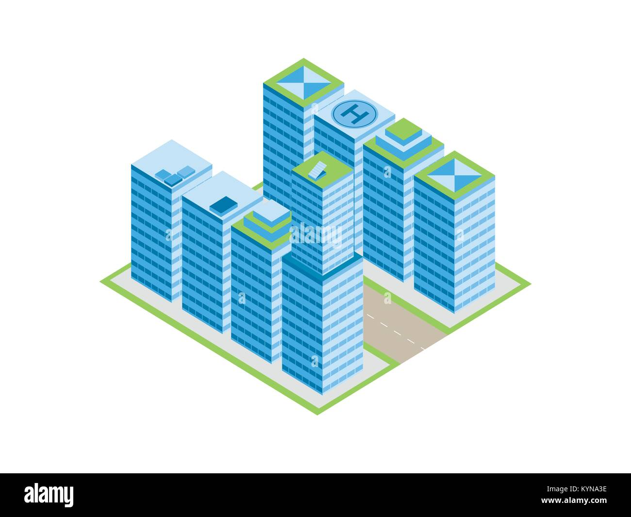 Isometric city, street with houses and skyscrapers. Isolated on white background. Vector illustration Stock Vector