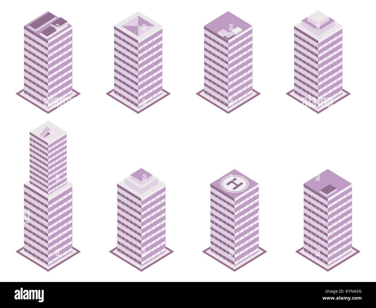Isometric building set isolated on white background. Vector illustration Stock Vector