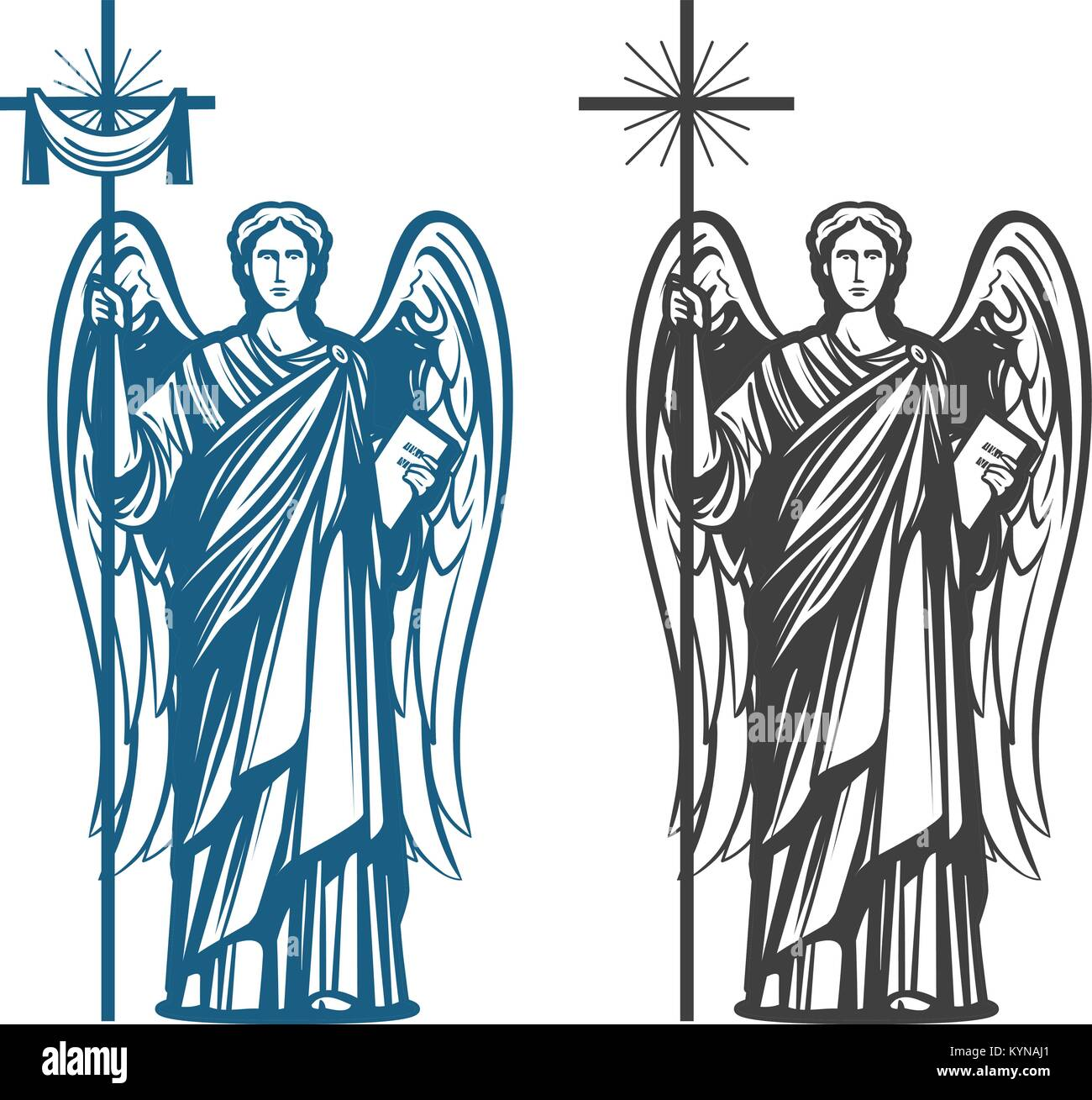 Angel, Archangel with wings. Bible, religion, belief, worship concept. Vintage sketch vector illustration - Stock Image