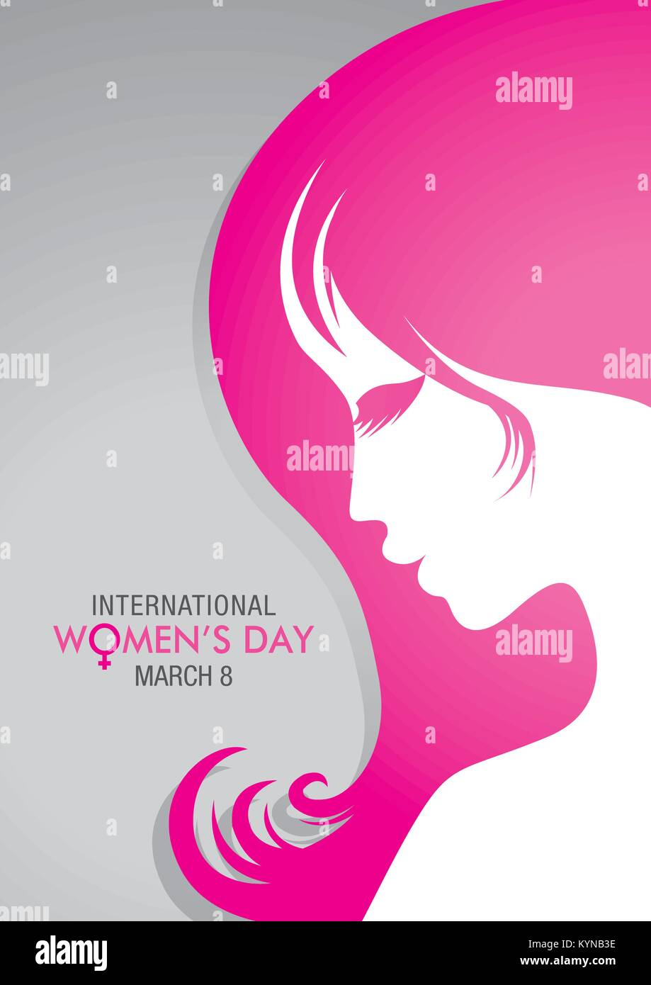 Design about international womens day with a drawing of a woman face with pink hair on gray background vector image