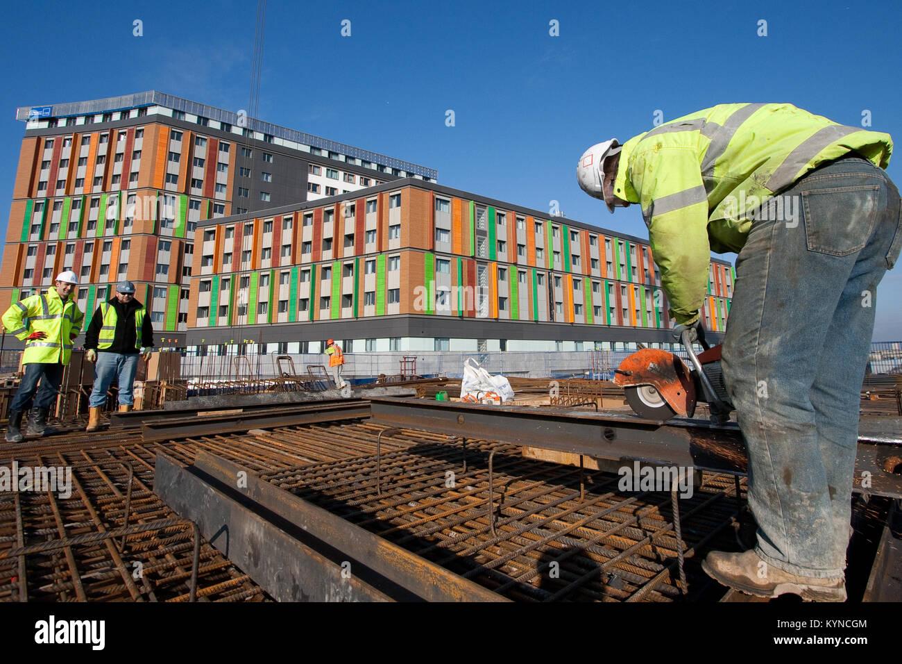 Construction of Hale Village, Tottenham Hale, London. Hale Village ...