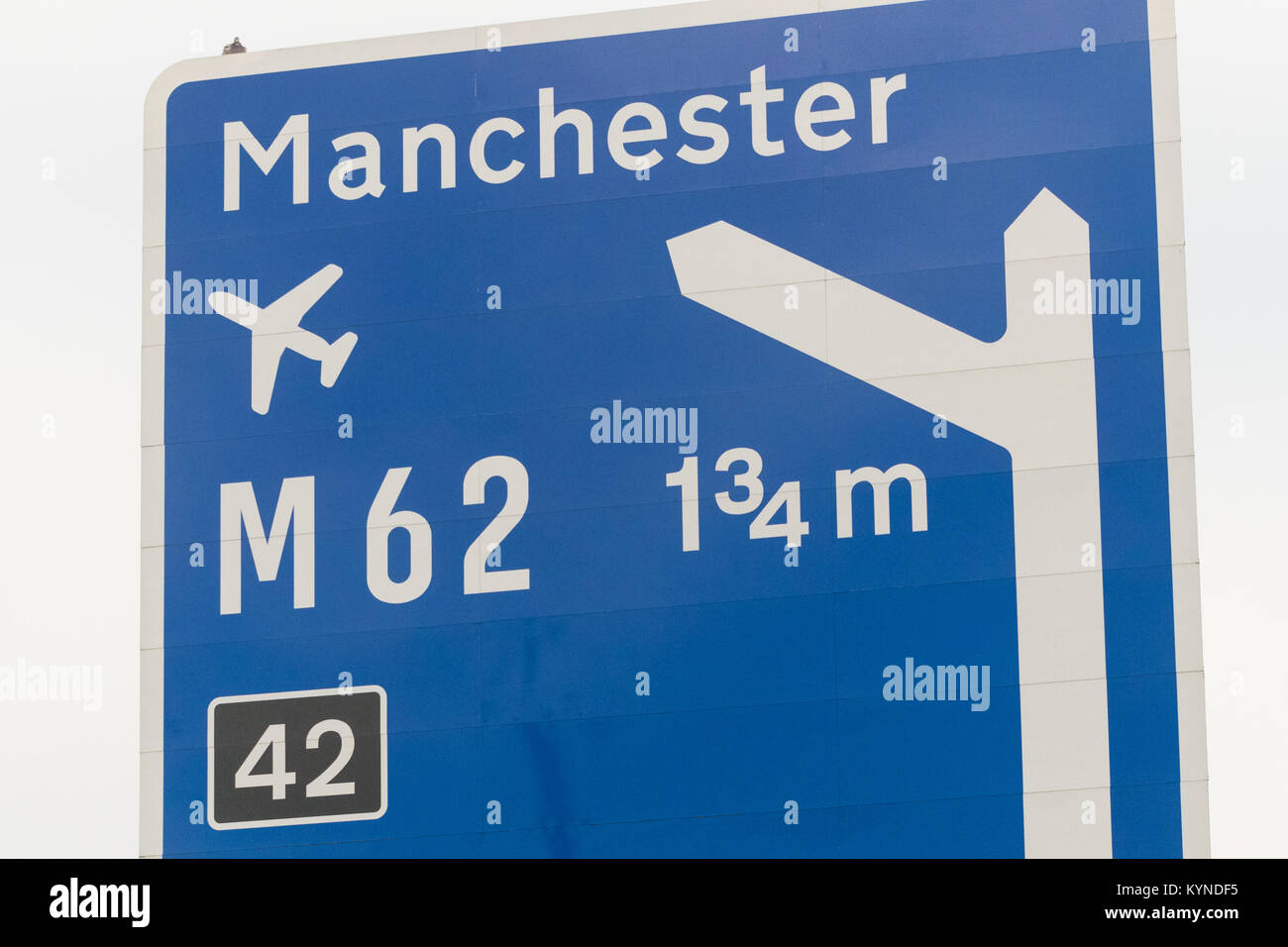 Manchester airport stock photos manchester airport stock images manchester airport m62 sign leading off the m1 motorway uk stock image kristyandbryce Image collections