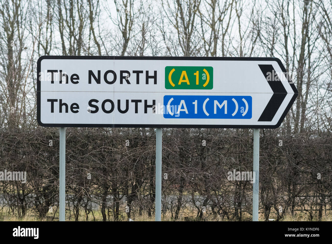 The North The South A1 A1(M) road sign - north and south pointing in the same direction - Stock Image