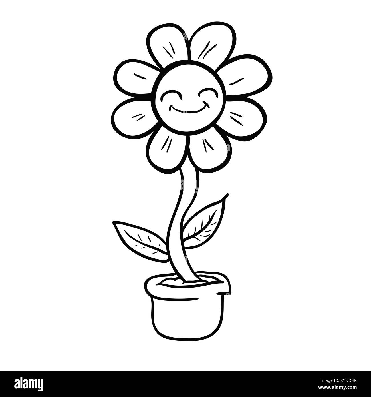 Cartoon Happy Flower In A Pot Black And White Illustration