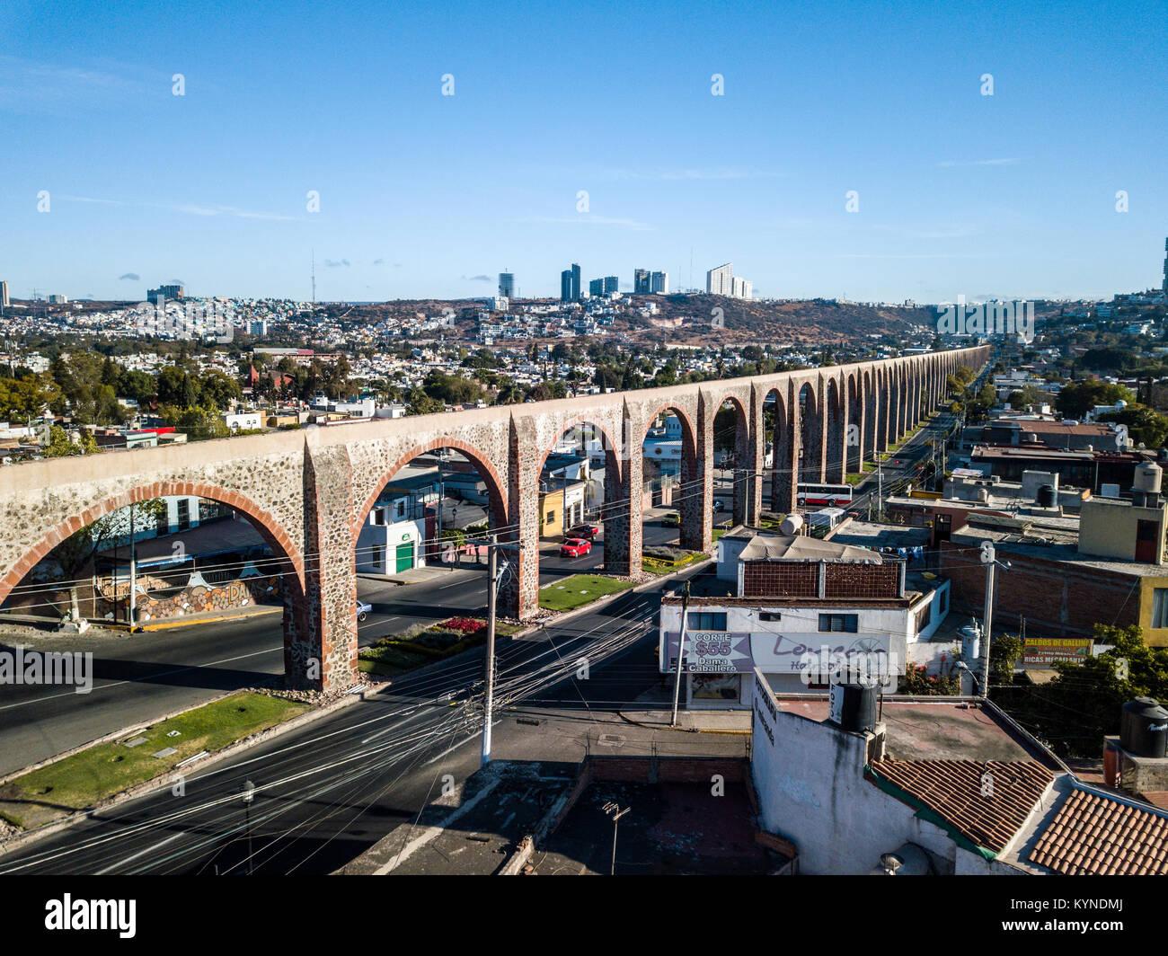 Los Arcos, aquaduct in Queretaro, Mexico - Stock Image