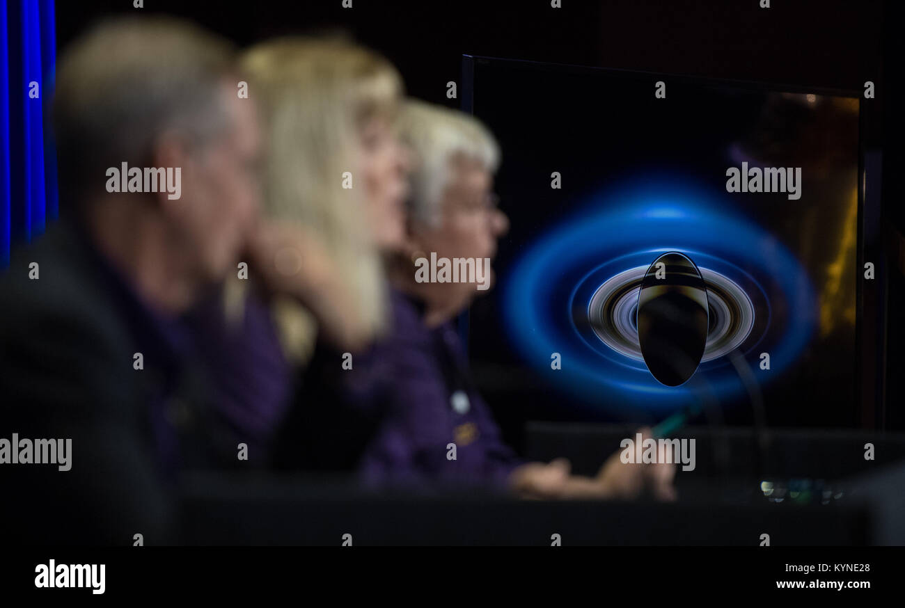 An image of Saturn is seen on a monitor during a press conference held after the end of the Cassini mission, Friday, - Stock Image