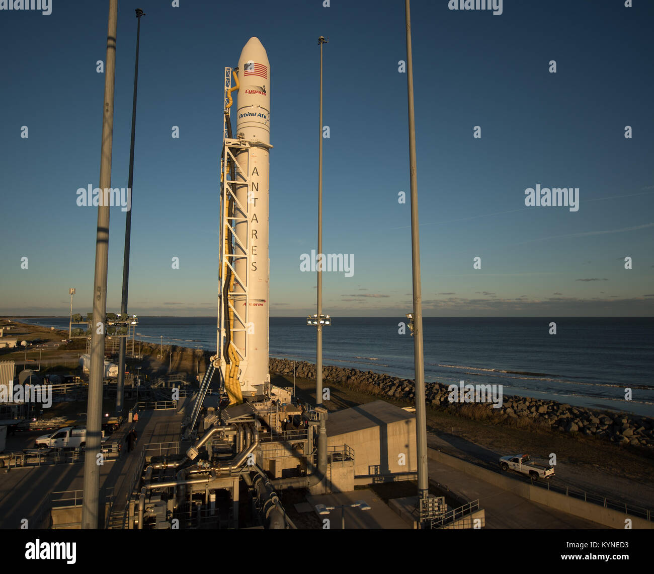 The Orbital ATK Antares rocket, with the Cygnus spacecraft onboard, is seen on launch Pad-0A, Friday, Nov. 10, 2017 Stock Photo