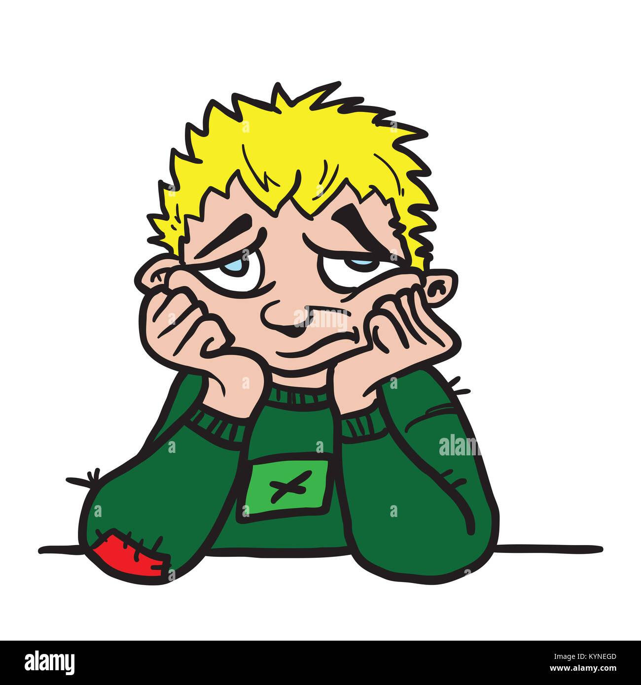 Sad Boy Cartoon Illustration Isolated On White Stock Photo