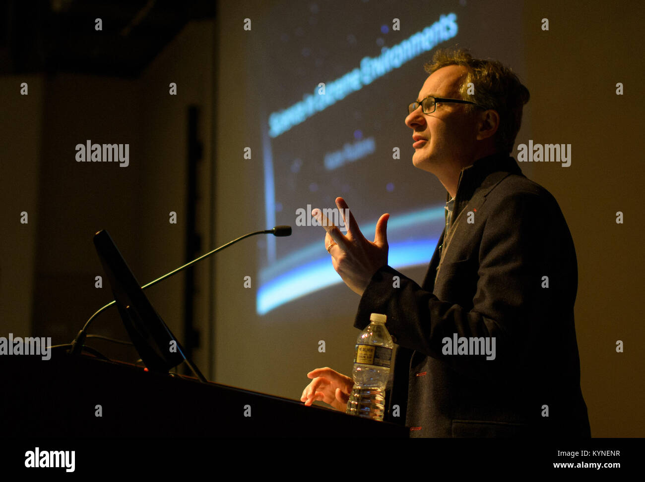 Denis Wirtz, vice provost for research at Johns Hopkins University, speaks prior to a presentation by NASA astronaut - Stock Image