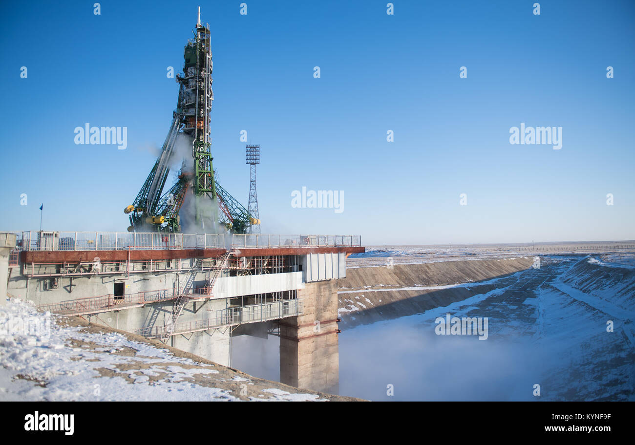 The Soyuz MS-07 spacecraft is seen on the launch pad, Sunday, Dec. 17, 2017 at the Baikonur Cosmodrome in Kazakhstan. - Stock Image