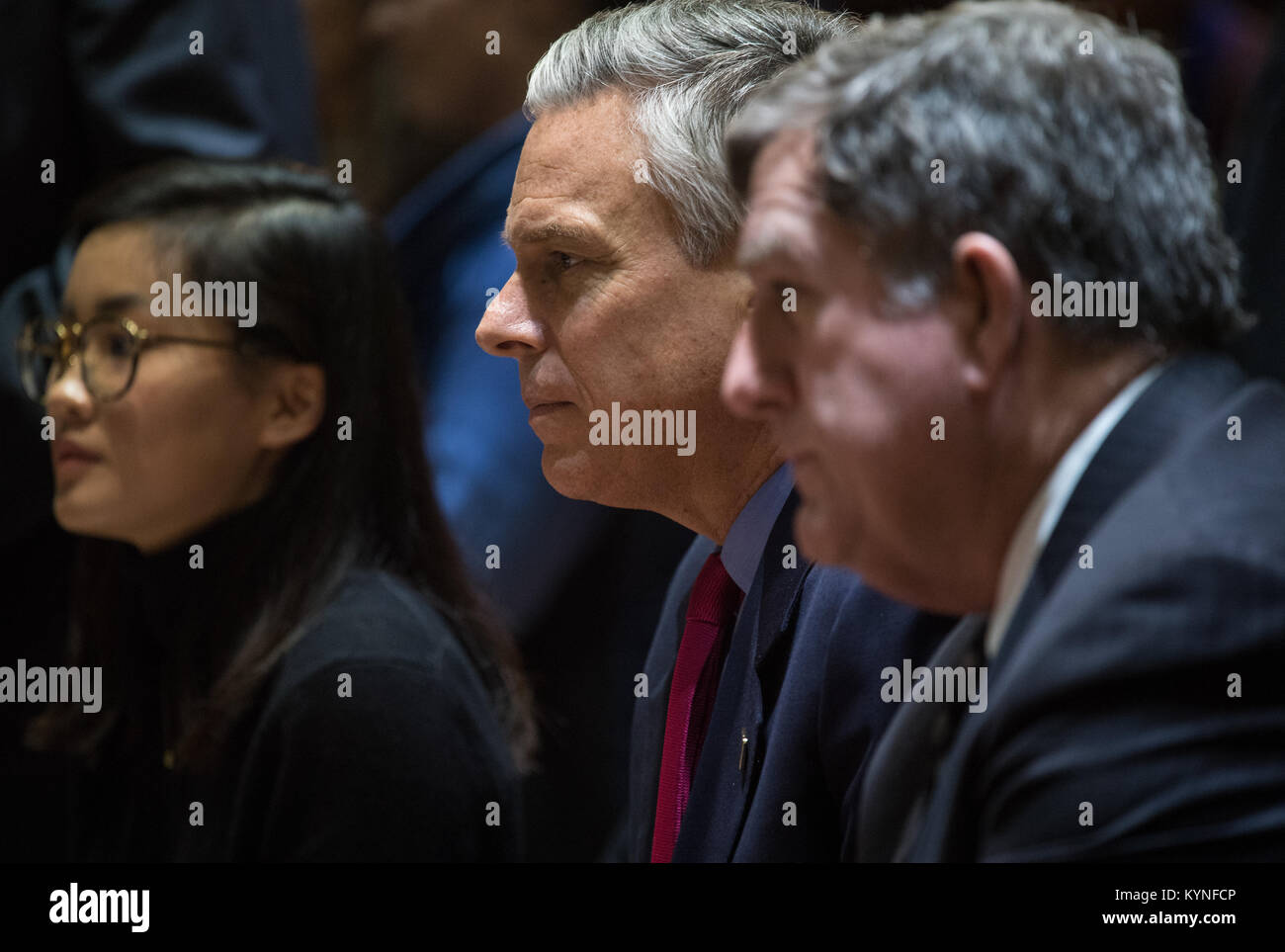 U.S. Ambassador to Russia Jon Huntsman Jr. is seen in the Moscow Mission Control Center in Korolev, Russia while - Stock Image