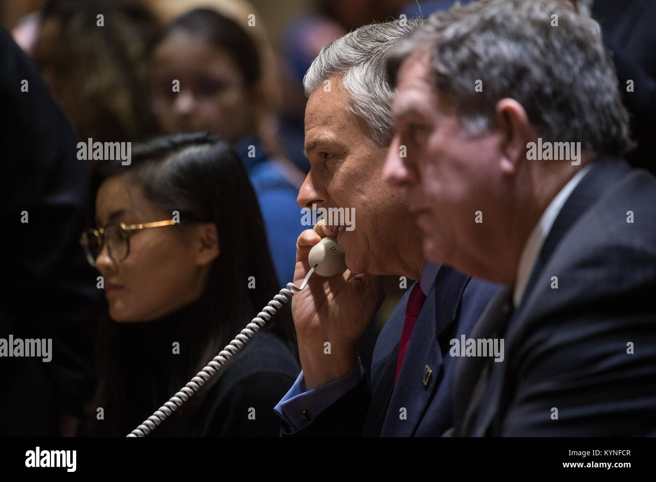 U.S. Ambassador to Russia Jon Huntsman Jr. speaks with the Soyuz MS-07 crew from the Moscow Mission Control Center - Stock Image