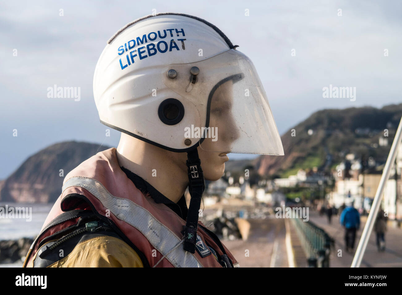 Collecting dummy outside Sidmouth Lifeboat station. Sidmouth lifeboat is not supported by theRNLI, but relies entirely - Stock Image