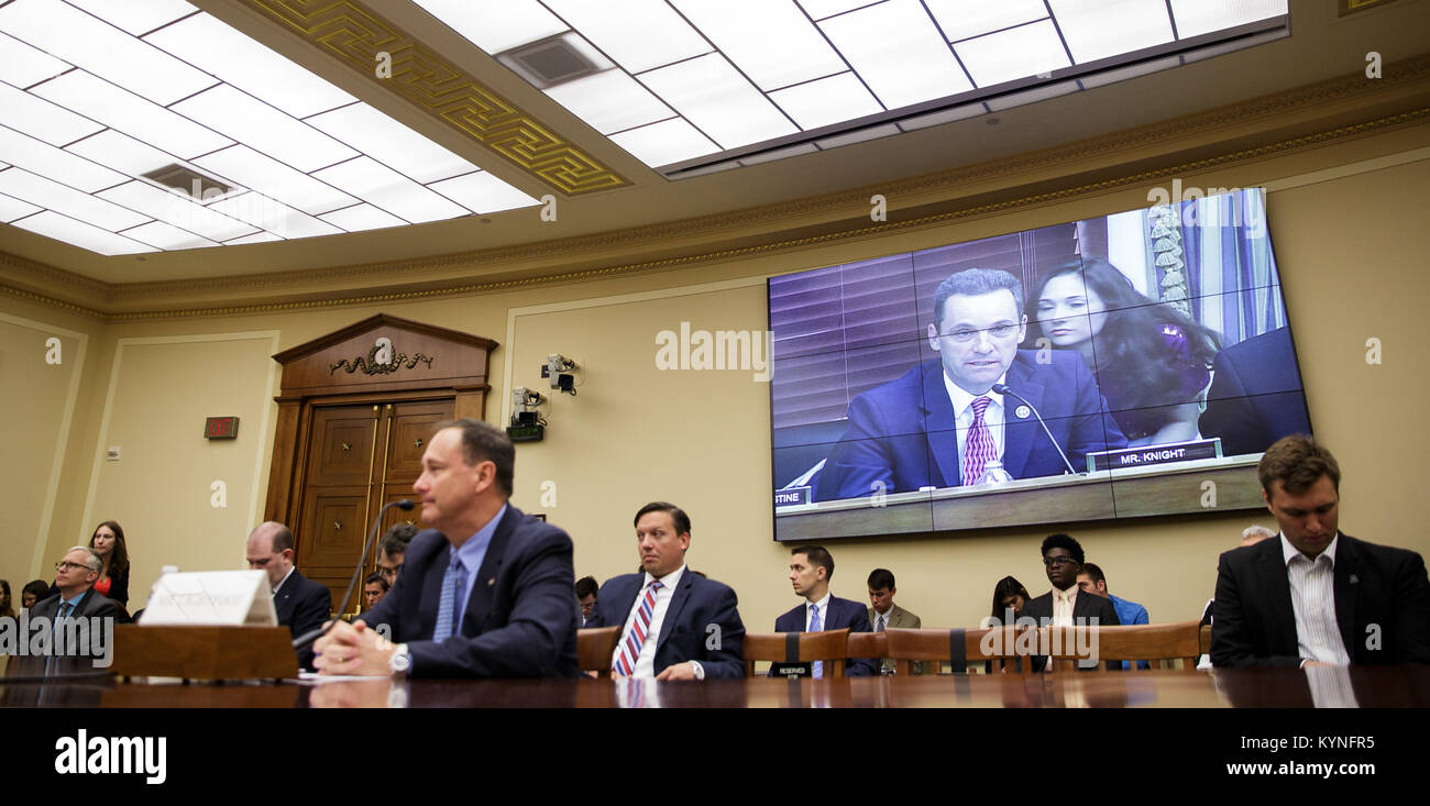 Rep. Stephen Knight, R-Cali., is seen on a screen as he speaks during a House Committee on Science, Space, and Technology, - Stock Image