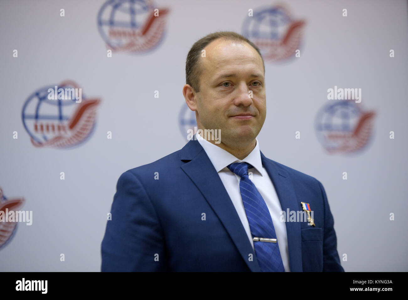 Expedition 52 backup crew member Alexander Misurkin of Roscosmos is seen during a crew press conference at the Gagarin Stock Photo