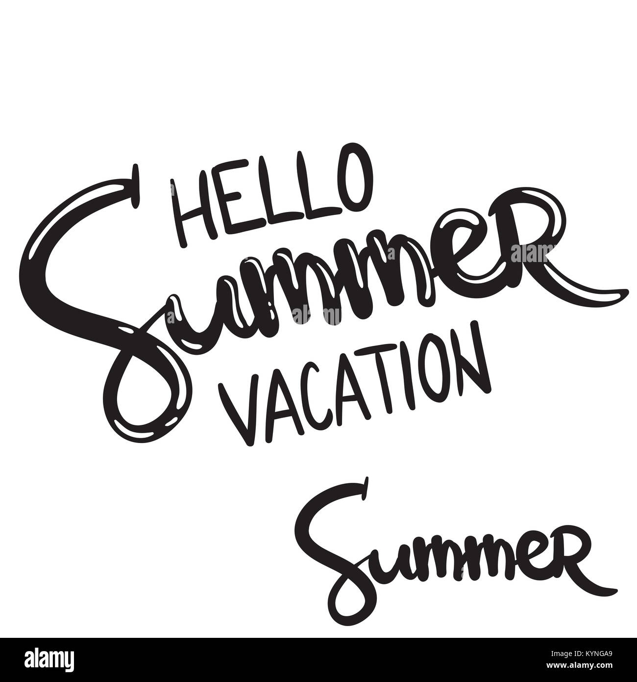 hand written lettering phrase hello summer vacation - Stock Image