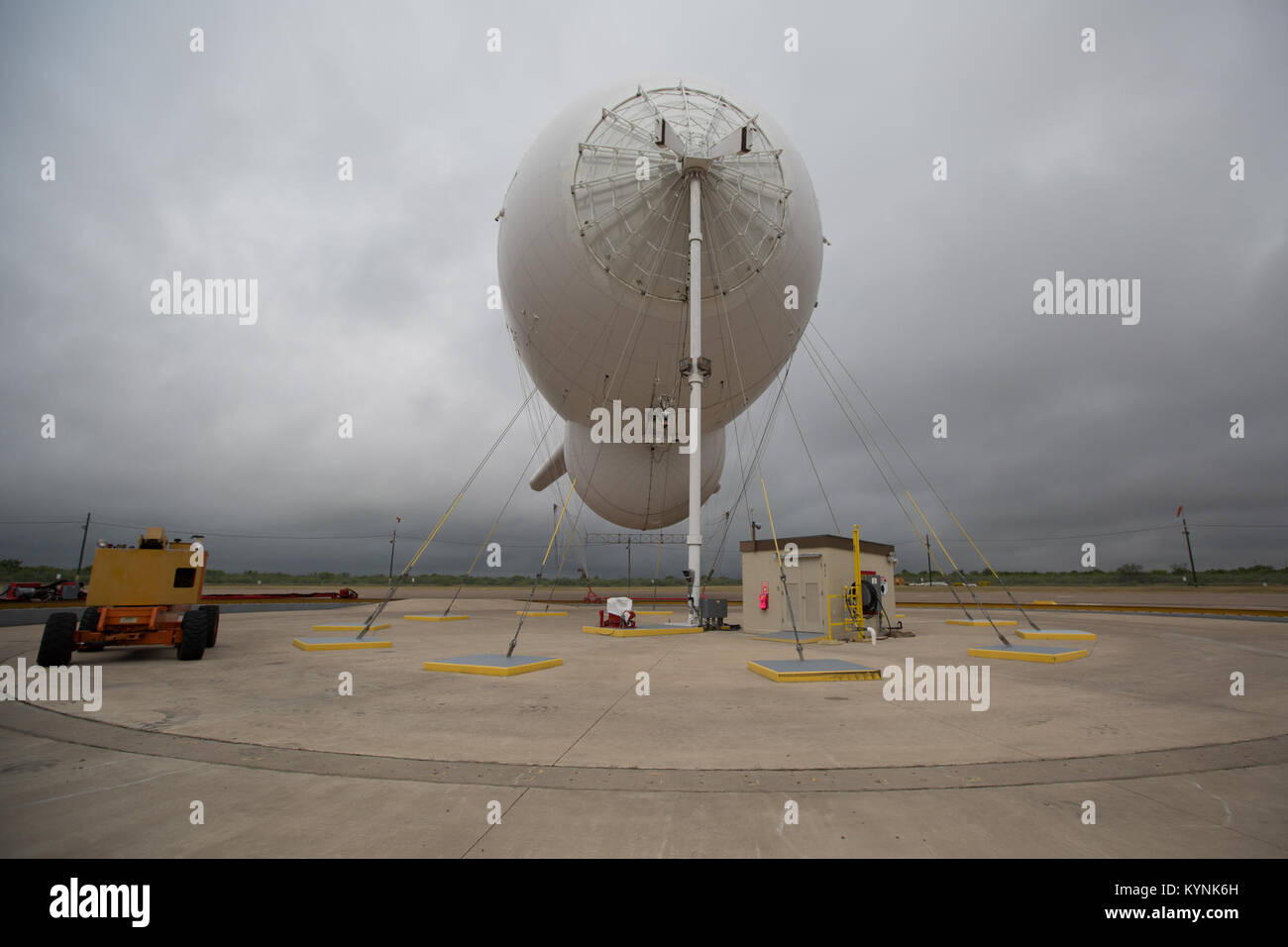 Eagle Pass, TX - The Tethered Aerostat Radar System (TARS) is low-level airborne ground surveillance system that Stock Photo