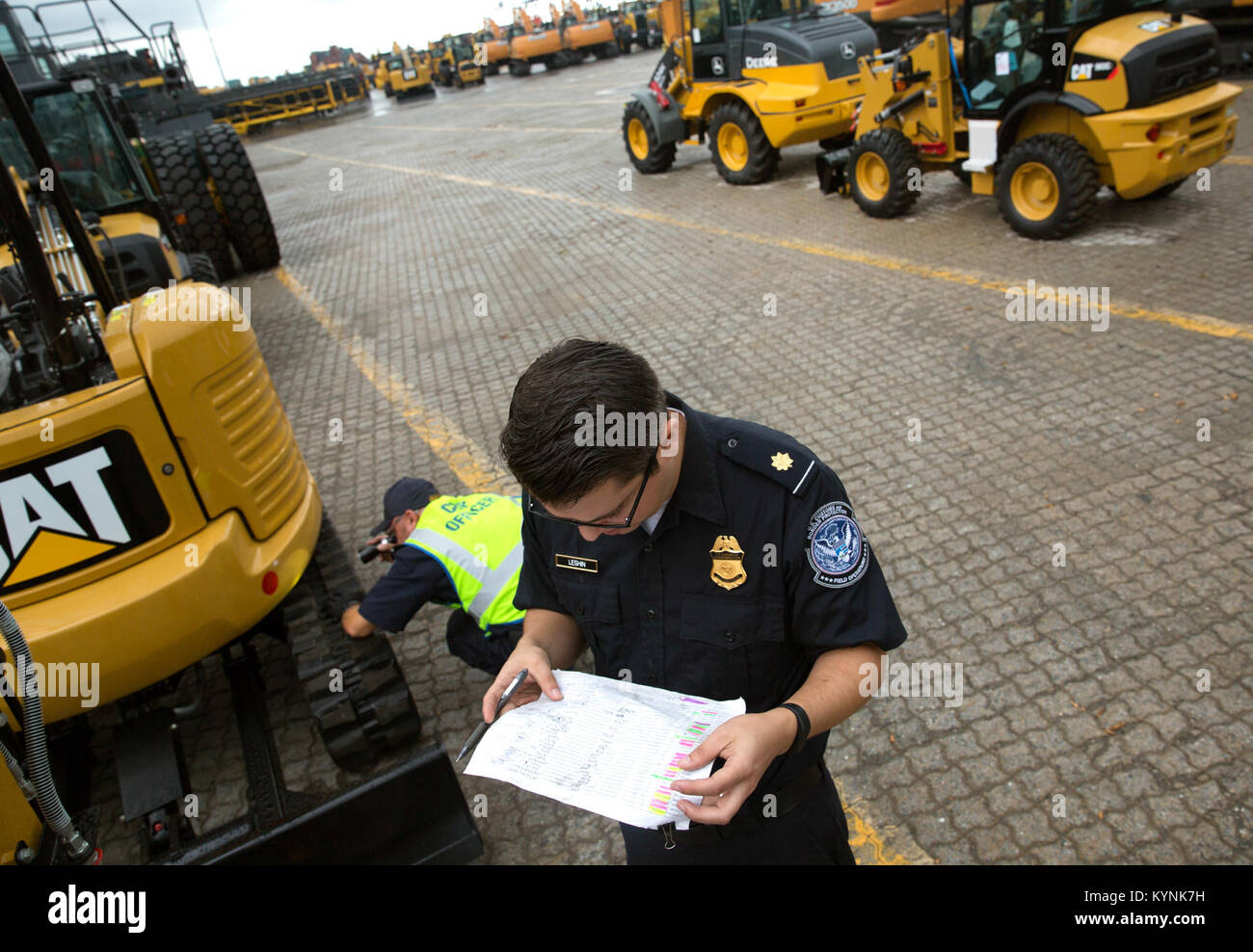 Agriculture inspection specialists with the U.S. Customs and Border Protection, Office of Field Operations, National - Stock Image
