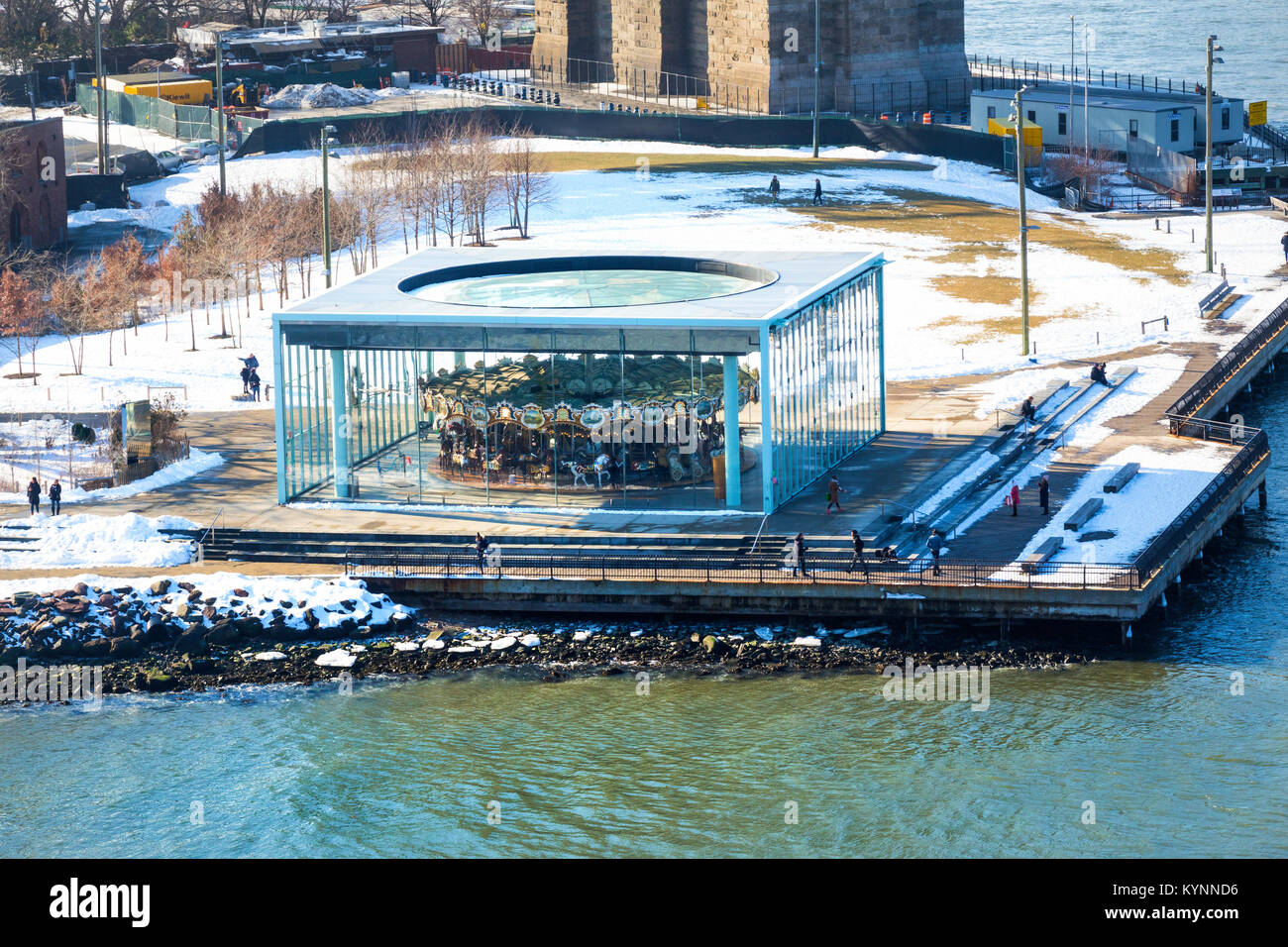 Jane's Carousel in the Dumbo section of Brooklyn in winter - Stock Image