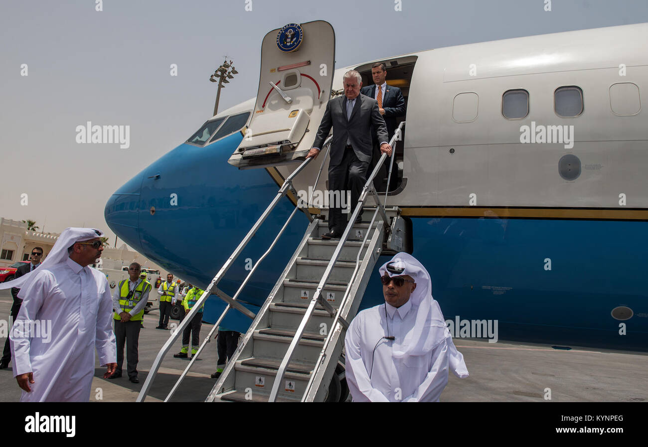 U.S. Secretary of State, Rex Tillerson, arrives to Doha, Qatar, July 13, 2017. (Photo by Trevor T. McBride) Secretary Stock Photo