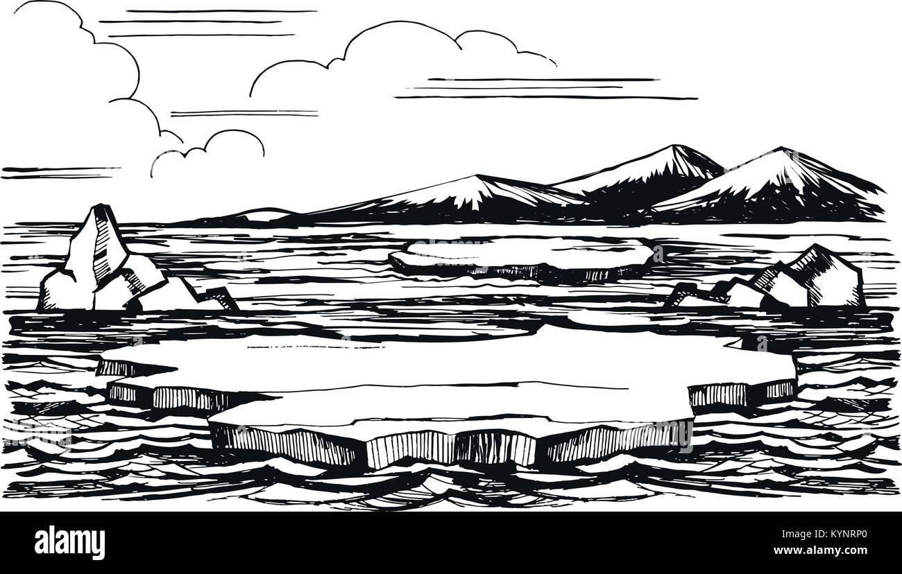 Iceberg sketch hand-drawn cartoon - Stock Vector