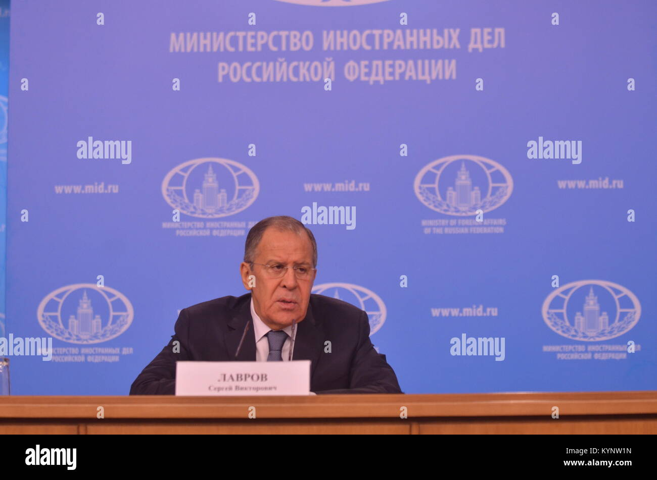 Moscow, Russia. 15th Jan, 2018.  News conference by Minister of Foreign Affairs of the Russian Federation Sergey - Stock Image
