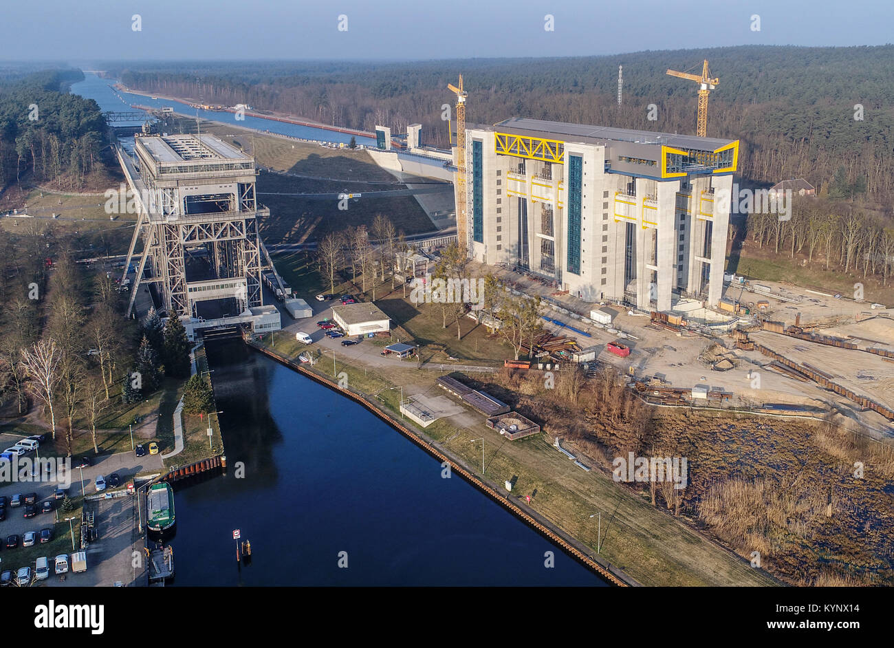 The ship lift currently being constructed (R), as well as the old lift to the left can be seen in Niederfinow, Germany, Stock Photo