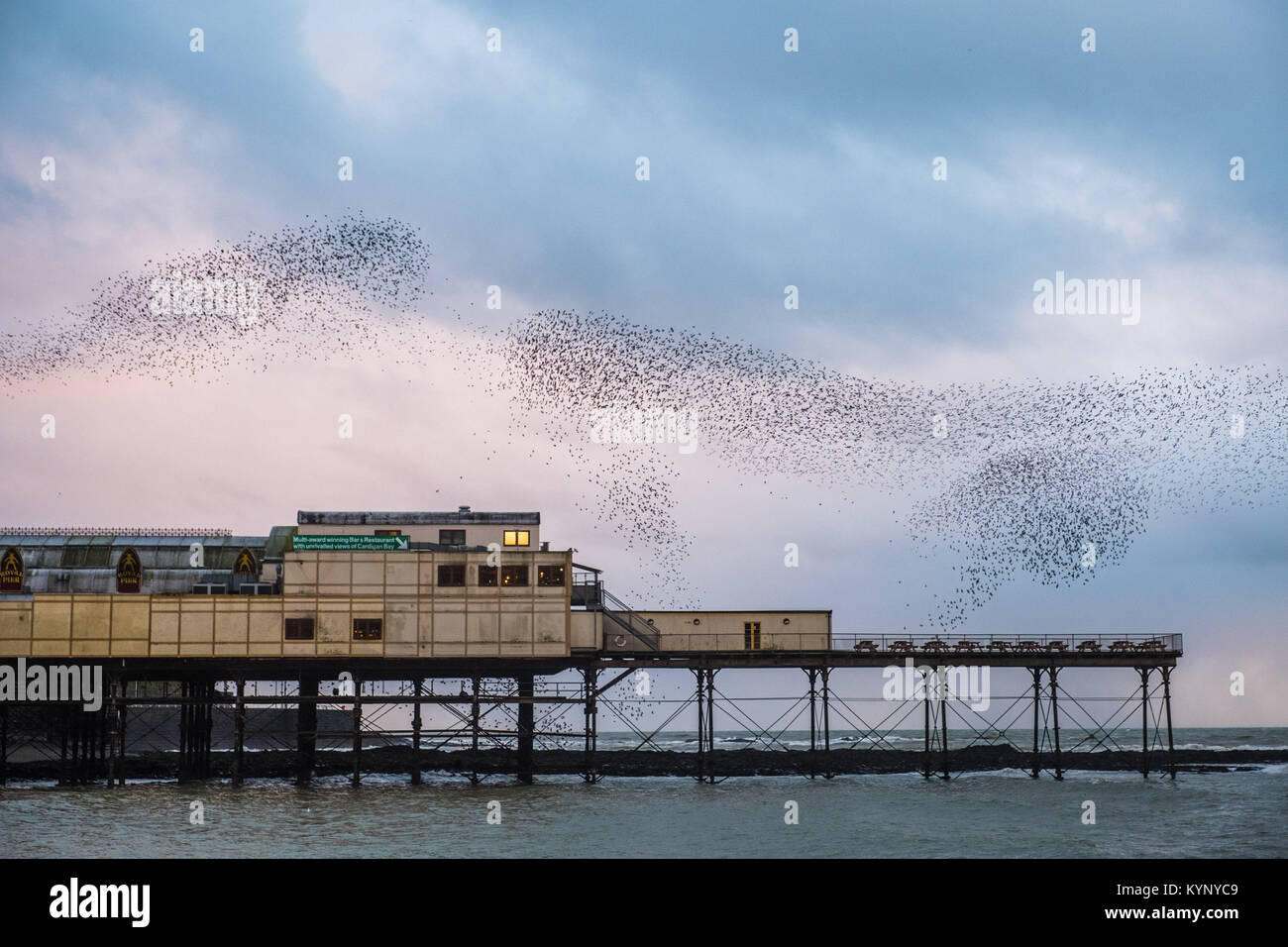 Aberystwyth Wales UK, Monday 15 January 2018 UK Weather: In the silver grey light of the January dusk in Aberystwyth - Stock Image
