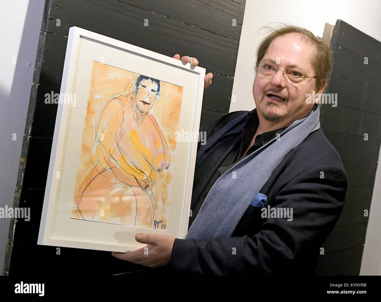 Hanover, Germany. 15th Jan, 2018. Actor Juergen Tarrach presents his painting 'Die dicke maennerfressende Chinesin Stock Photo