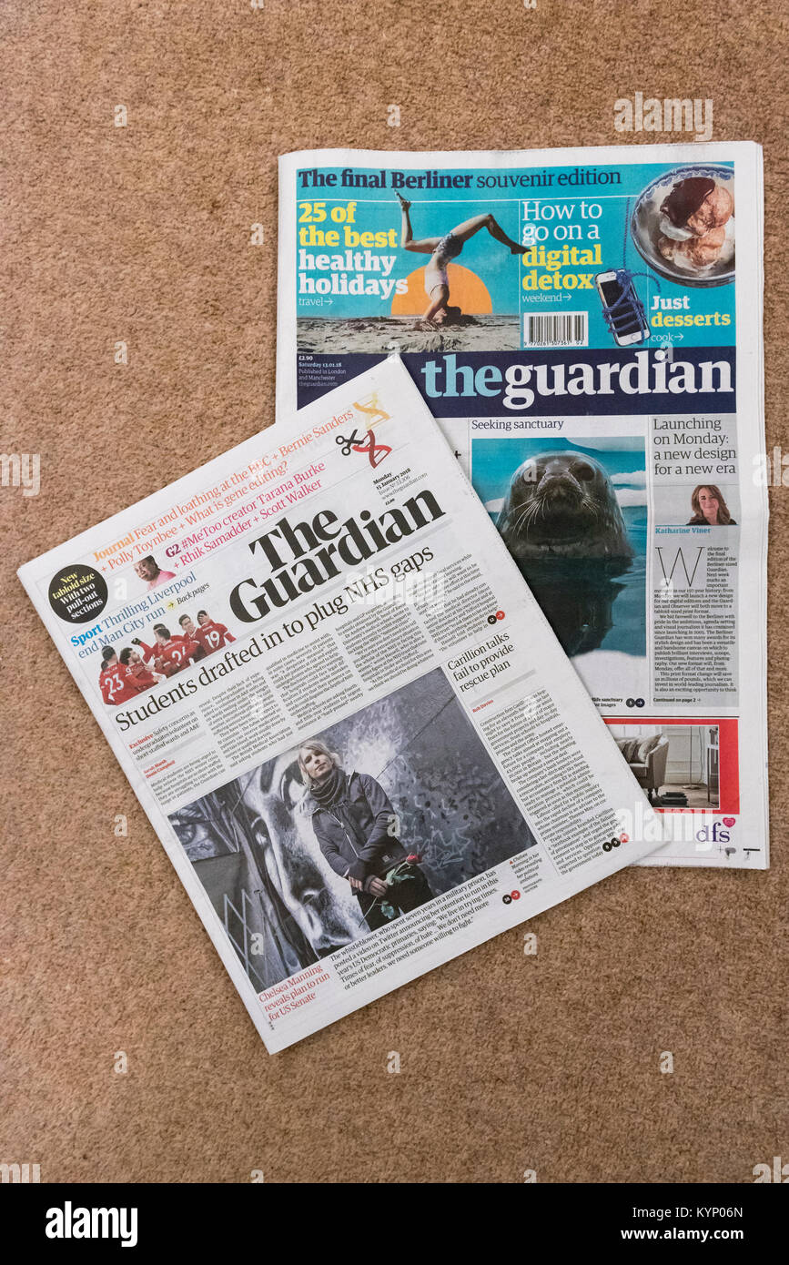 London, UK. 15th Jan, 2018. The new tabloid-sized format of The Guardian newspaper is seen with the final published Stock Photo