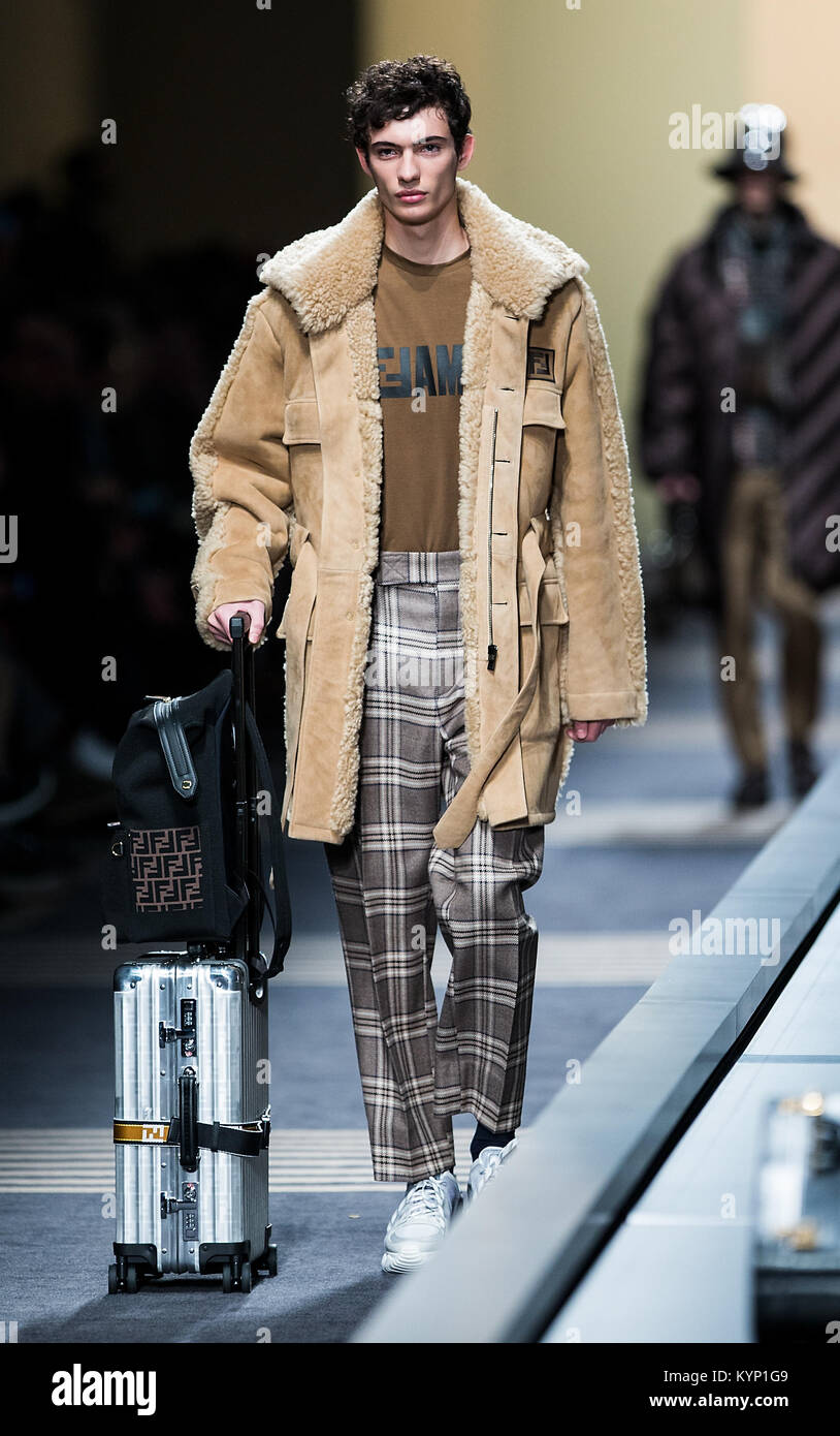 62274d3f91f A model presents a creation of Fendi during Milan Men s Fashion Week Fall Winter  2018 19 in Milan
