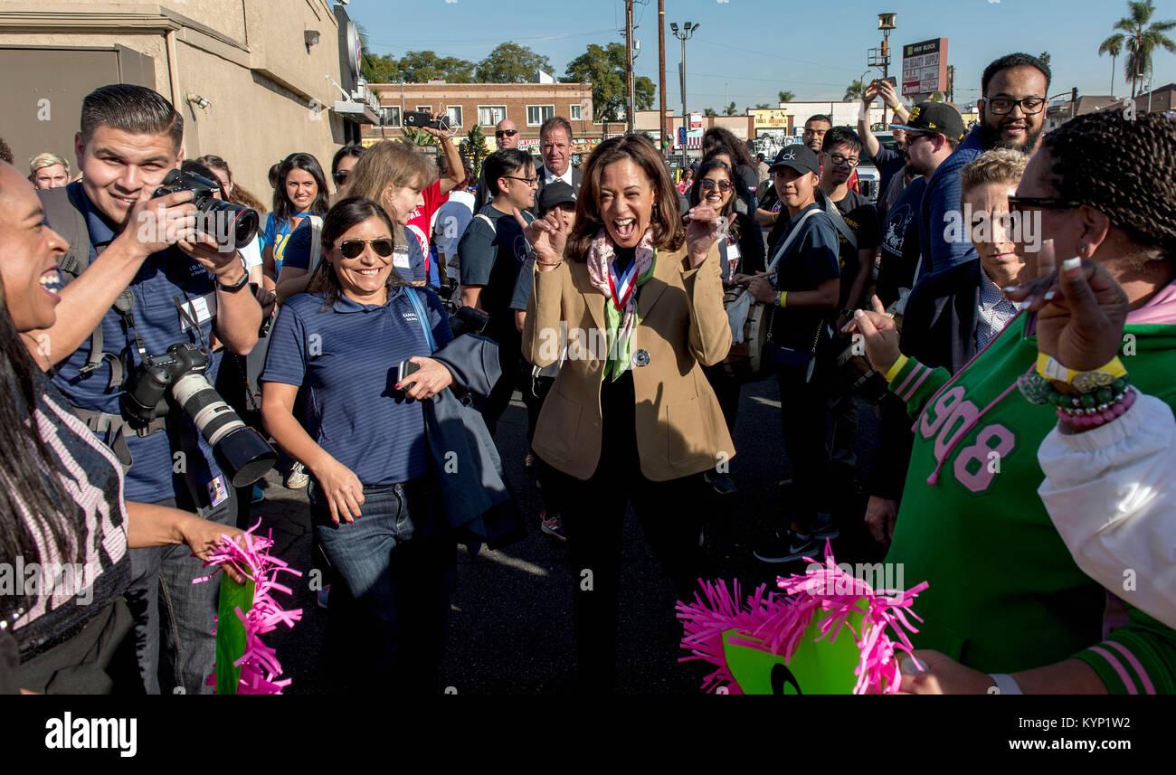 Los Angeles, California, USA. 15th Jan, 2018. U.S. Senator KAMALA HARRIS (D - CA), the Grand Marshal of the Los - Stock Image