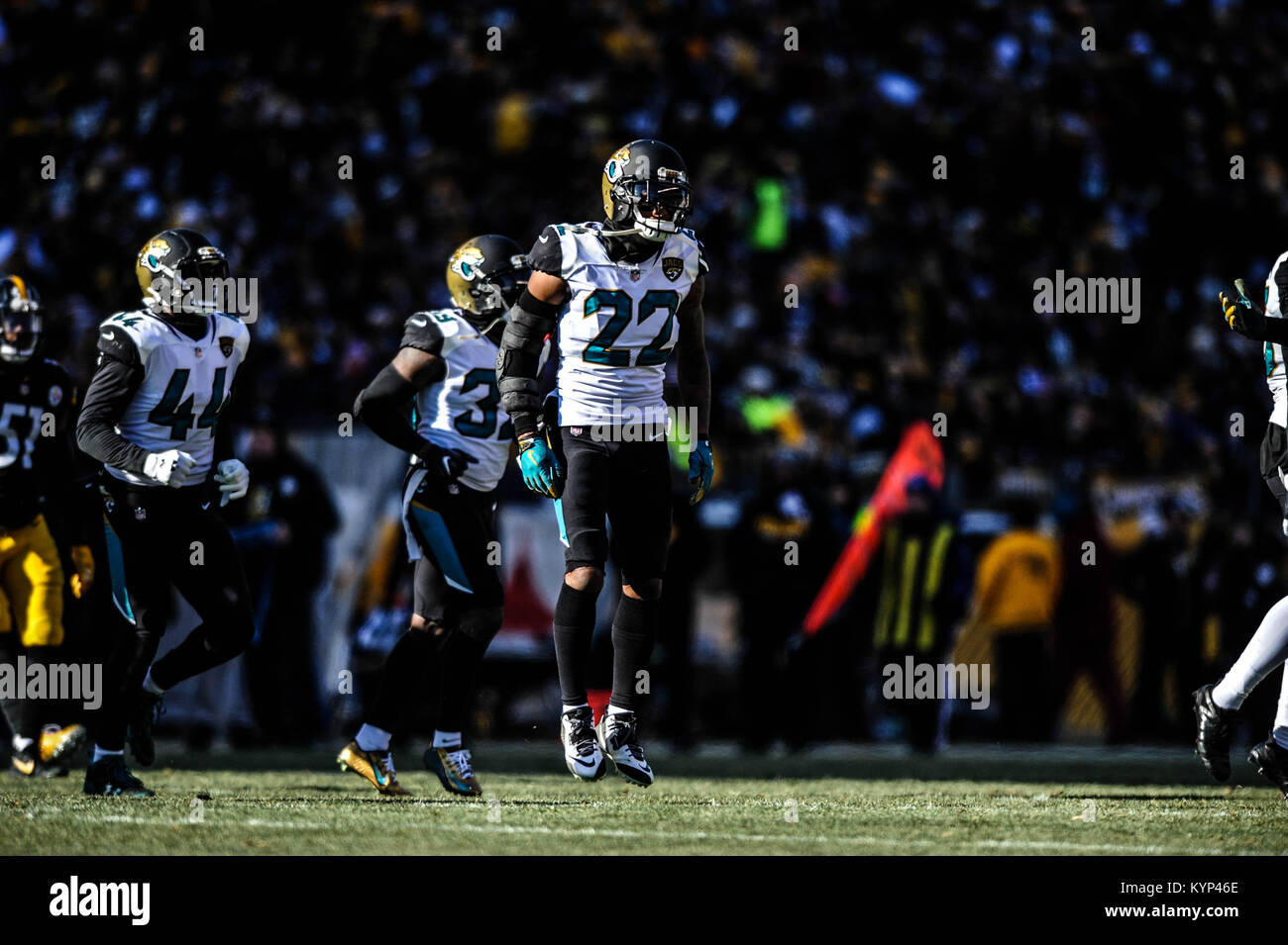 Pittsburgh, PA, USA. 14th Jan, 2018. Aaron Colvin #22 during the Jacksonville Jaguars vs Pittsburgh Steelers game - Stock Image