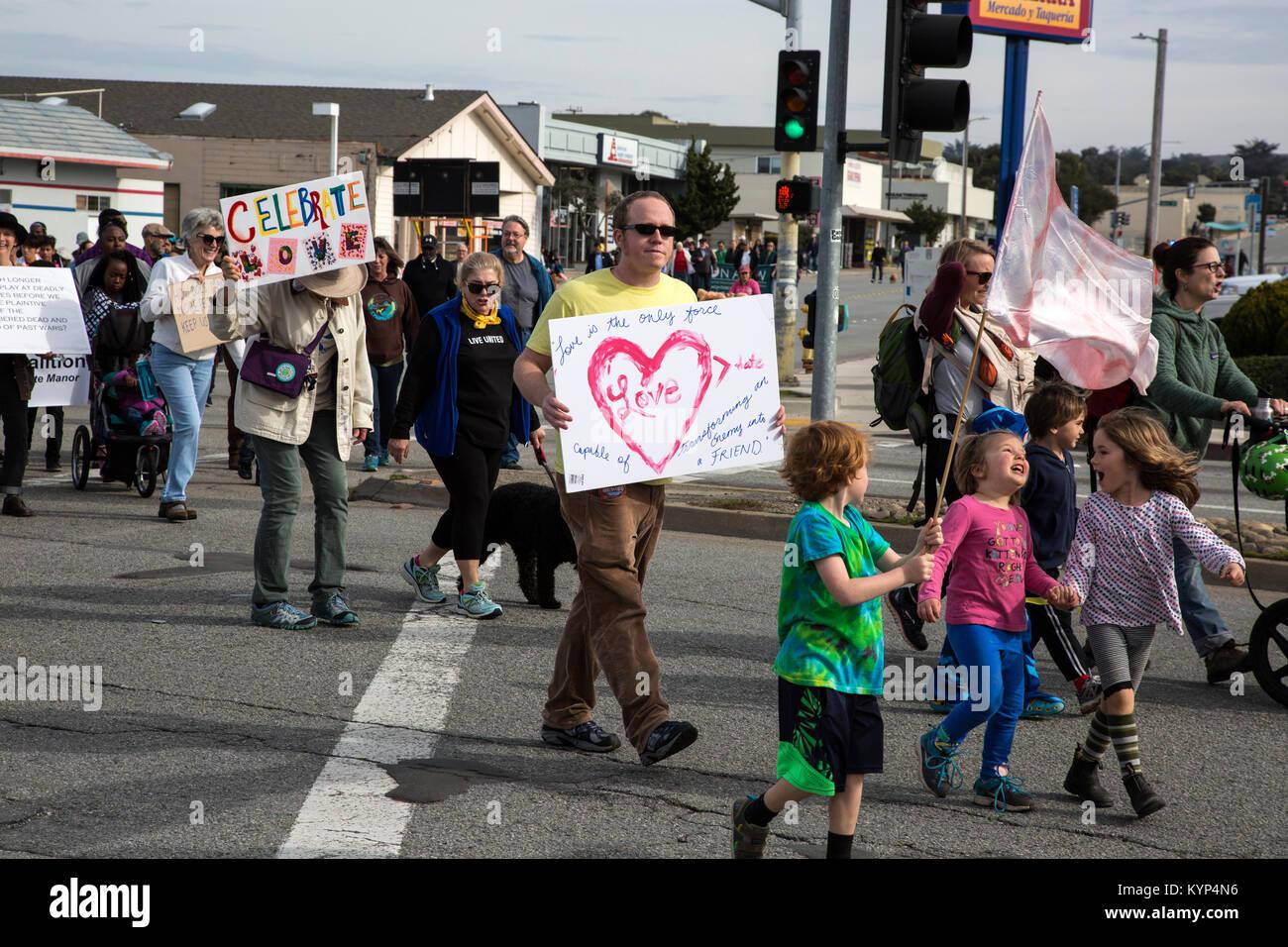Seaside, California, USA. 15th Jan, 2018. Martin Luther King, Jr. Parade, Seaside, California, USA Credit: Tami - Stock Image