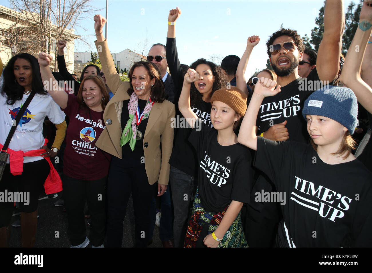 Los Angeles, Ca, USA. 15th Jan, 2018. U.S. Senator Kamala Harris, Jussie Smollett, Jurnee Smollett-Bell, at the Stock Photo