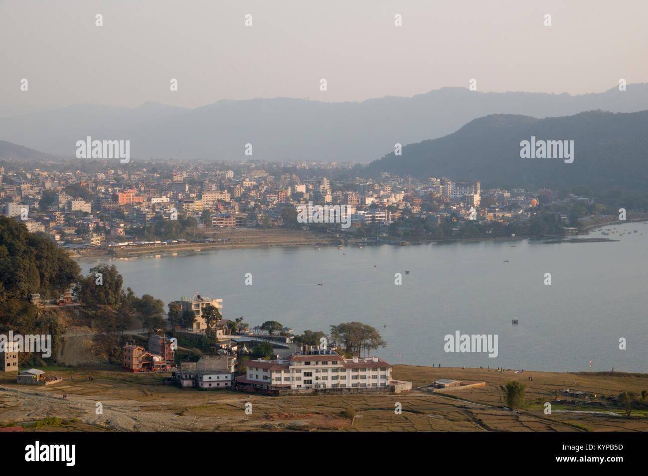 Scenic view of Phewa Lake and Pokhara, Nepal - Stock Image