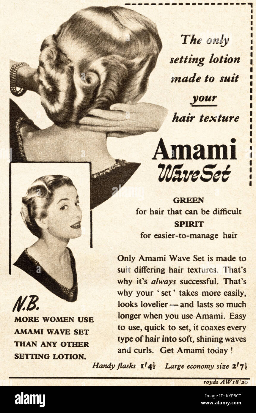 1950s old vintage original advert advertising Amami wave set for ladies hair in magazine circa 1954 - Stock Image