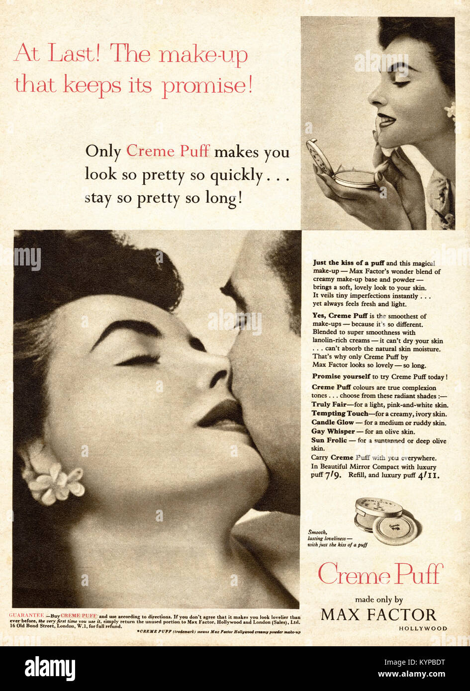 1950s old vintage original advert advertising Max Factor cosmetics in magazine circa 1954 - Stock Image
