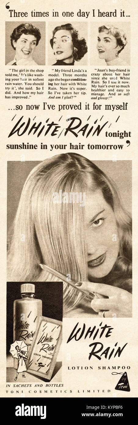 1950s old vintage original advert advertising Toni ladies White Rain shampoo product in magazine circa 1954 - Stock Image