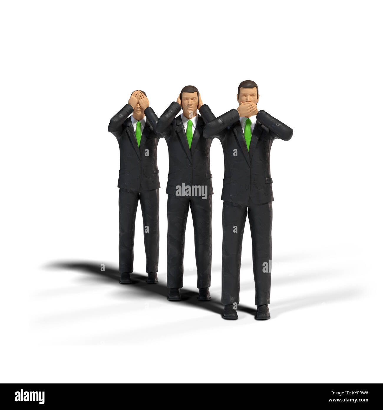 3 toy miniature figure businessmen in three wise monkeys pose isolated on white background - see no evil, hear no - Stock Image