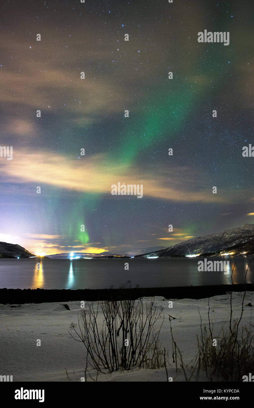 Northern Lights, Near Narvik, Norway. - Stock Image