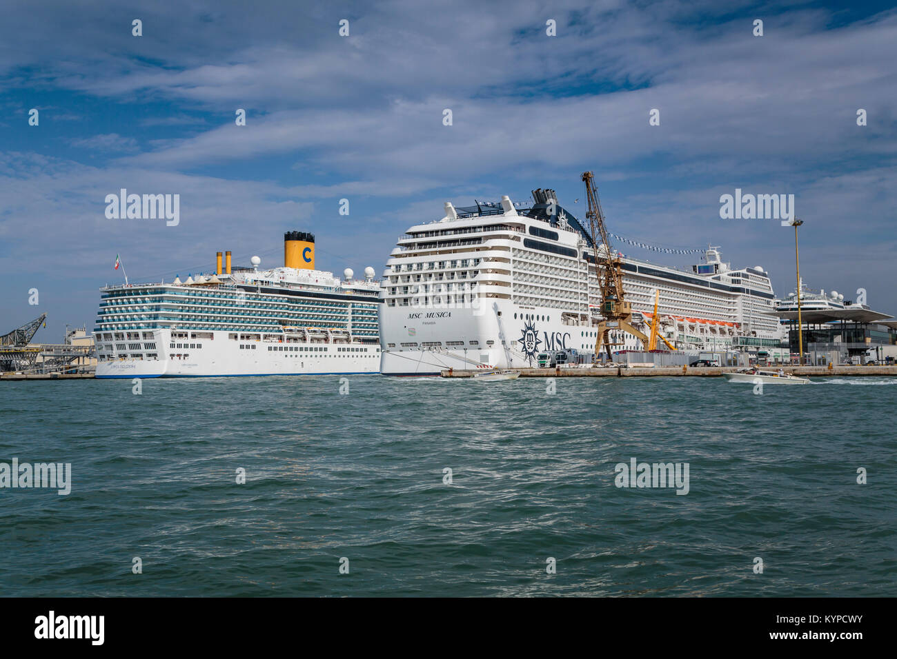 Cruise ships docked in port in Veneto, Venice, Italy, Europe. - Stock Image