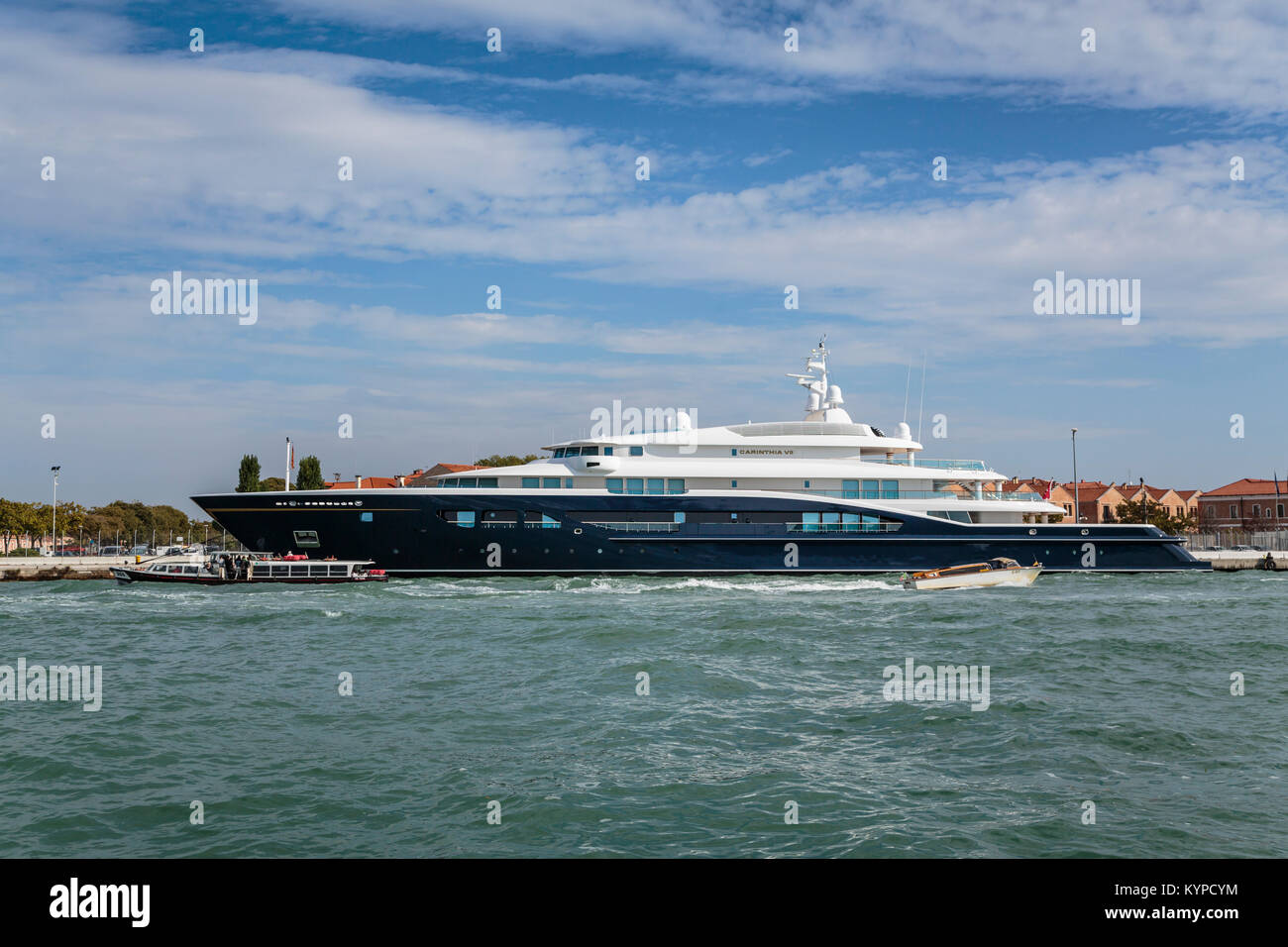 A luxury yacht at the port in Veneto, Venice, Italy, Europe. - Stock Image