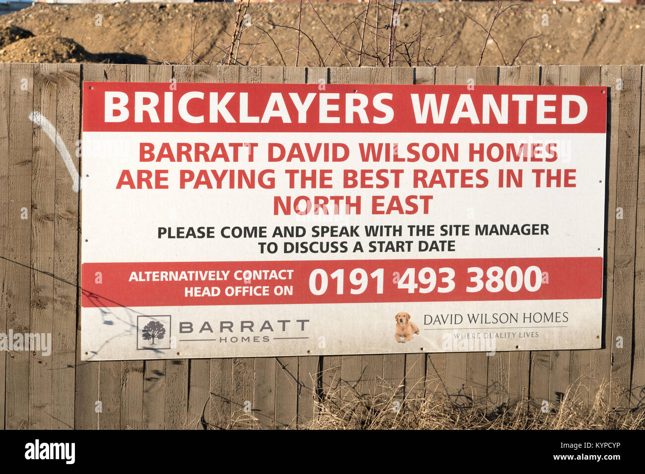 Sign at building site, Bricklayers Wanted, north east England, UK - Stock Image