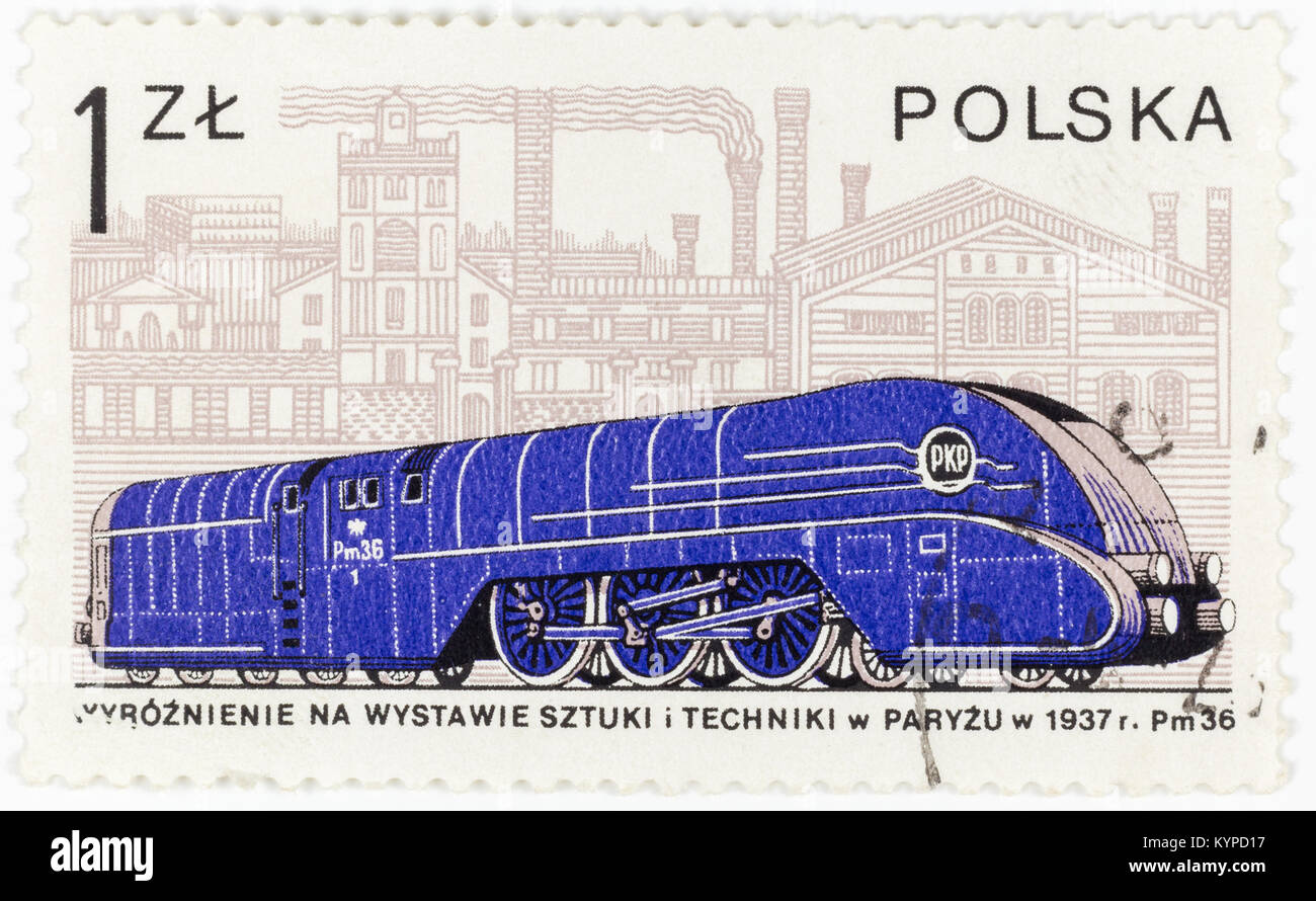 POLAND - CIRCA 1978: A postage stamp printed in Poland shows the old Polish locomotive Pm 36  from 1937, circa 1978 - Stock Image
