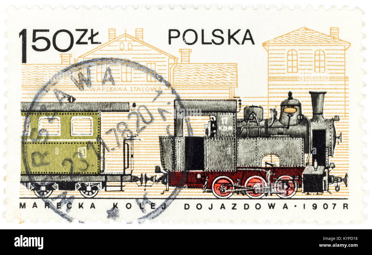 POLAND - CIRCA 1978: A postage stamp printed in Poland shows the old Polish train from 1907, circa 1978 - Stock Image