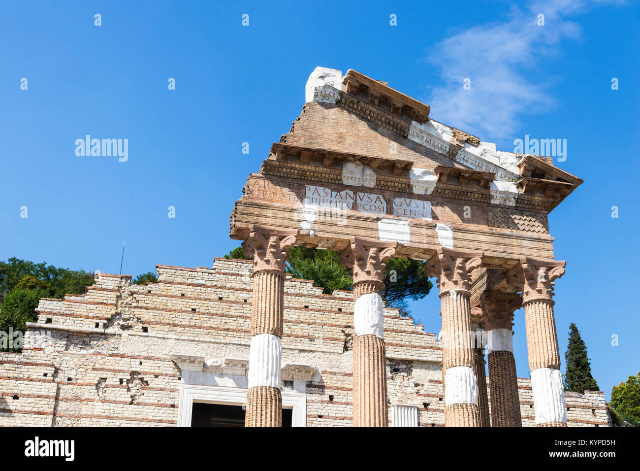 The ruins of the Capitolium or Temple of the Capitoline Triad in Brescia, Italy, main temple in the center of the - Stock Image