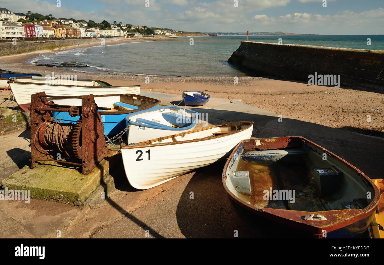 Boats on the slipway at Dawlish. - Stock Image