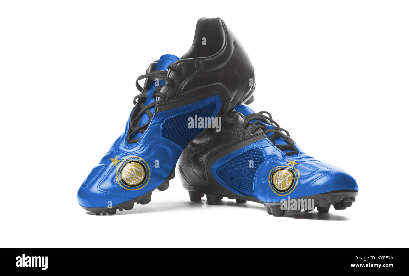 FC Inter - Internazionale Milano - football boots. Isolated on white. - Stock Image