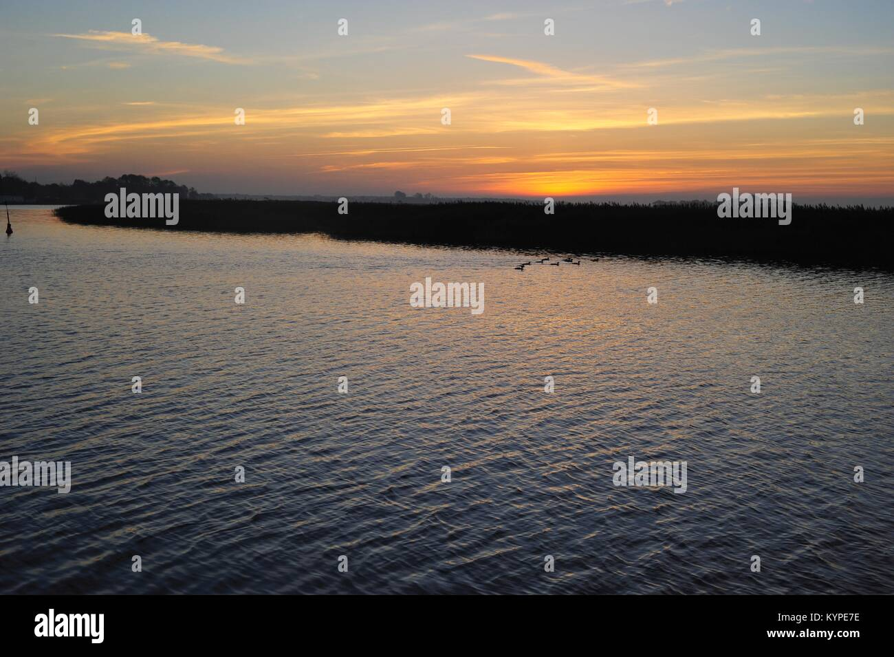 Sunset over the Baltic Sea in spring - Stock Image